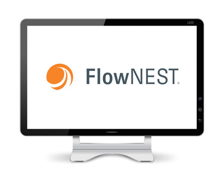 Computer monitor displaying FlowNest, Flow's Simple, waterjet specific geometric nesting module software.