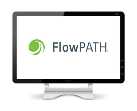 Computer monitor displaying FlowPath, 2d CAD and cut pathing software.